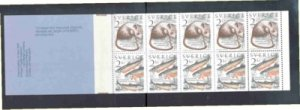 Sweden Sc 1527a 1985 mouse & fish stamp booklet mint NH