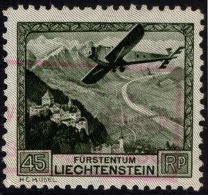 Liechtenstein 1930 45rp Olive Green AIR Scott C5 SG 114 VFU Cat $87