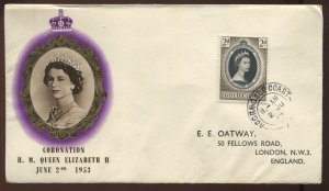Gold Coast 1953 QEII Coronation First Day Cover with cachet