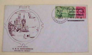 HONG KONG USS  HENDERSON 1937 MARCH 12  CACHETED