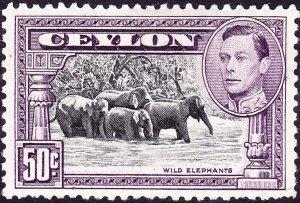 CEYLON 1942 KGVI 50 Cents Black & Mauve SG394d MH