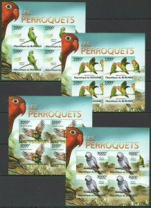 W1113 IMPERFORATE 2011 BURUNDI FAUNA BIRDS PERROQUETS PARROTS !!! 4KB FIX