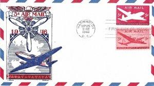 #UC14 Air Mail FDC, 5c Plane, Fleetwood cachet