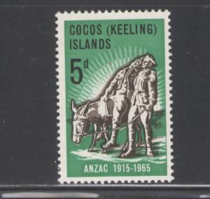 Cocos Islands 1965 ANZAC Scott # 7 MH