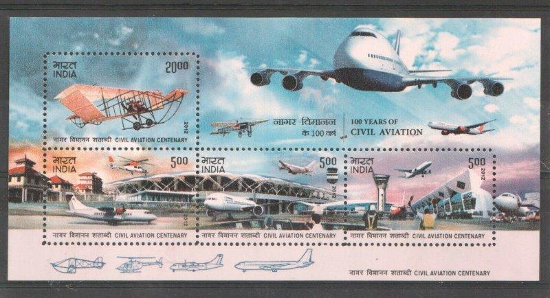 2012   INDIA  -  SG:  MS2868  -  AVIATION -  UNMOUNTED MINT MINI SHEET