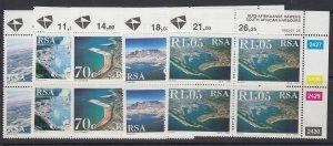 South Africa, Scott 844-848, MNH blocks of four