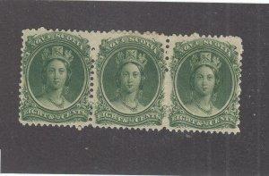 NOVA SCOTIA  # 11 VF-1MNH/2MH  8 1/2cts  QUEEN VICTORIA STRIP OF 3 /GREEN CV $75