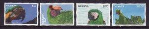 Guyana-Sc#2654-6,2659-unused NH 1/2 set-Birds-parrots-id3-1993-