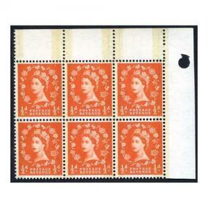SG599 1/2d Orange Red Phosphor Graphite U/M Block 6 (eBay 20)