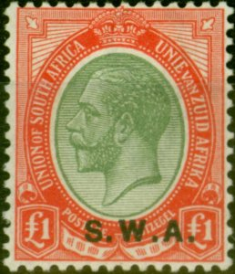 South West Africa 1927 £1 Pale Olive-Green & Red SG57 V.F Lightly Mtd Mint