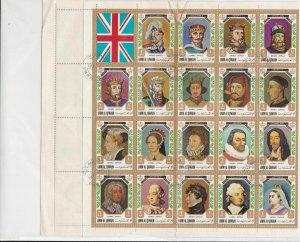 Umm Al Qiwain 1971 Kings + Queens Used Full Stamps Sheet FOLDED ref R 17516