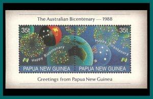 Papua New Guinea 1988 Australia's Bicentenary, MS MNH  #696c,SGMS578