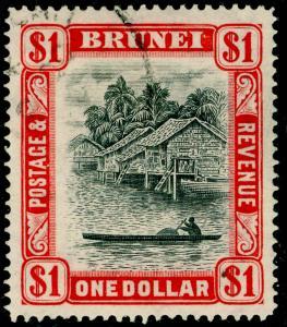 BRUNEI SG90, $1 black & scarlet, FINE USED.