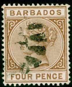 BARBADOS SG98, 4d pale brown, FINE USED.