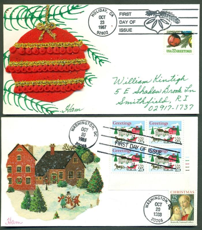 #2368, 2399-2400 (2) DIFFERENT HAND PAINTED FDC CACHET BY HAM BR666