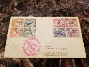 1936 Germany Hindenburg Zeppelin Olympics Cover to Berlin # B82-B89 LZ 129