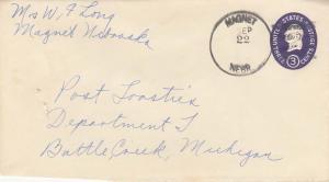 United States Nebraska Magnet c1950 4f-bar  Postal Stationery Envelope  Stapl...