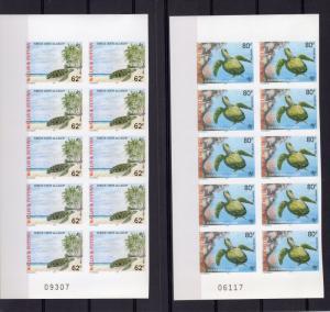 Wallis and Futuna 1997 Sc#496/497 GREEN LAGOON TURTLES Block of 10 IMPERFORATED