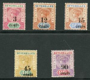 Seychelles SG15/21 1893 QV Part Set (Five Values) with Opt (Type T2)