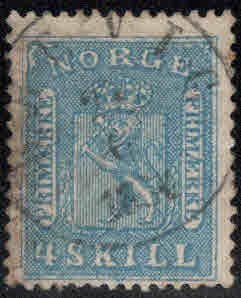Norway Scott 8 Used Coat of Arms, repaired nicely centered filler