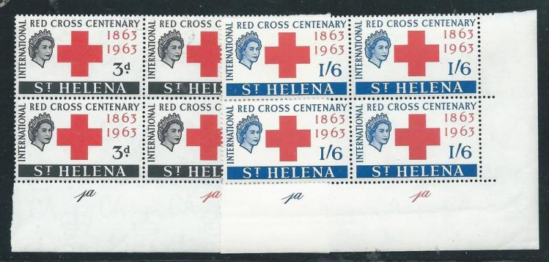 St. Helena 174-75 100th Red Cross Cilnder Number Block of...