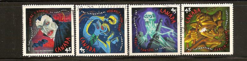 CANADIAN SET ON THE SUPERNATURAL  #1665-1668 USED STAMPS  LOT#199