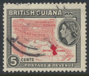 British Guiana SG 356  SC# 280 Used  Map  see details / scan