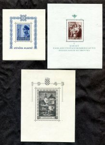 x050 - CROATIA 1940s WW2 Lot of (3) Souvenir Sheets MNH
