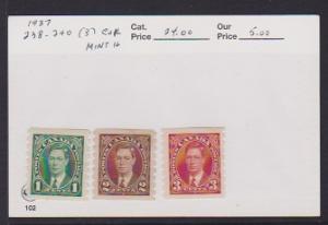 CANADA SET KING GEORGE VI STAMPS MNH #238-40 (3) LOT#716