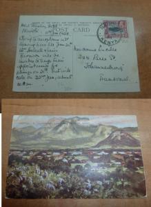 British KUT KGV 15c on 1938 S Rhodesia PPC to Transvaal, message(26bee)