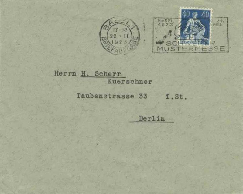 Switzerland 40c Helvetia 1923 Basel 1, Briefaufgabe Schweizer Mustermesse Ill...