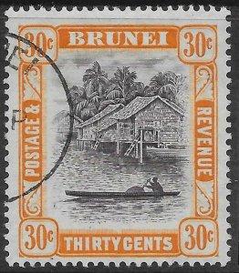 BRUNEI SG88b 1951 30c BLACK & ORANGE p14½x13½ USED