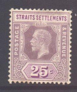 Malaya Straits Setts Scott 161 - SG205, 1912 Crown CA 25c MH*