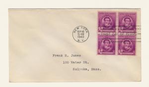 US - 1940 Scott 886 3c Augustus Saint-Gaudens - No cachet (Block of 4)