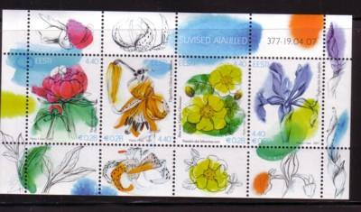 Estonia Sc567 2007 Summer Flowers stamp sheet NH