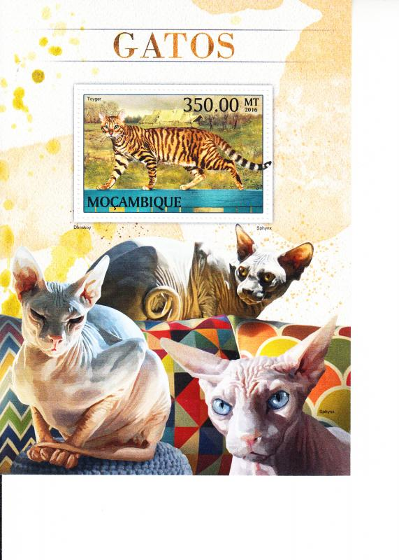 2016 Mozambique Cats Toyger SS (Scott NA) MNH