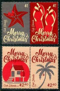 HERRICKSTAMP NEW ISSUES COOK ISLANDS Christmas 2017 Setenant Pairs