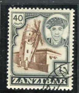 ZANZIBAR;  1961 early Sultan Khalifa issue fine used 40c. value