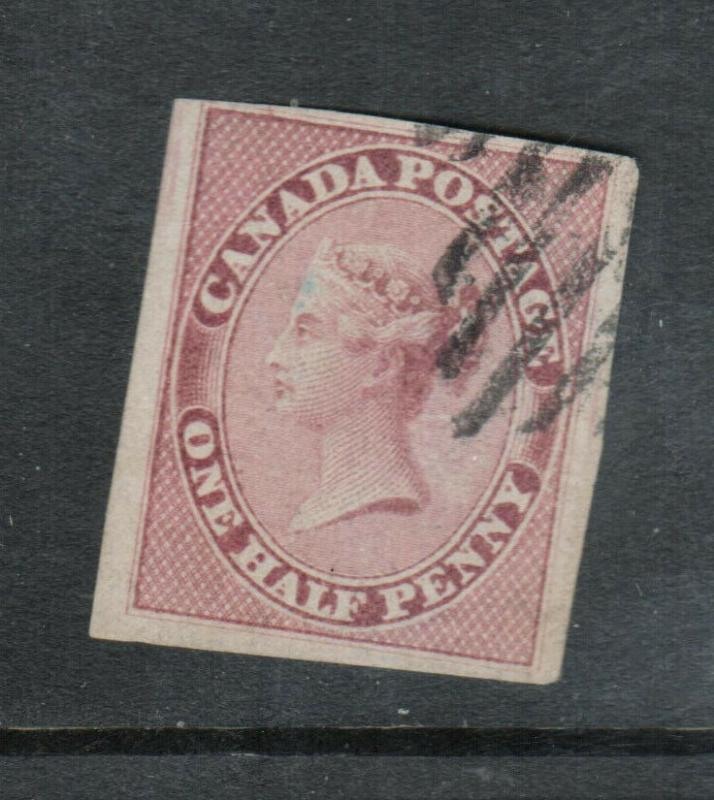 Canada #8b Very Fine Used On Vertically Ribbed Paper **With Certificate**