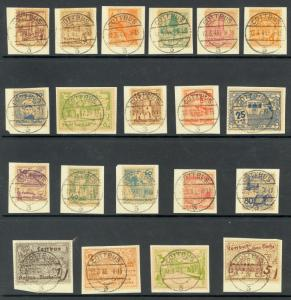 GERMANY SOVIET ZONE 1946 LOCAL COTTBUS Set of 20 Each on Piece w Full Postmarks