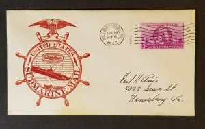 1945 Holidaysburg to Harrisburg PA Submarine Mail Color  Patriotic Cover