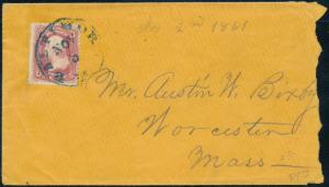 #64a PIGEON BLOOD PINK COVER , BLUE BALTIMORE NOV 2,1861 CDS CV $5,750 HV4388 JV
