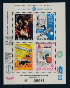 [44497] Uruguay 1977 Sports World Cup Football Zeppelin Nobel price MNH Sheet