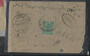 NEPAL  (P0209B) INDIA USED IN KGV 1920 1/2A SENT TO GYANTSE, TIBET, RECEIVAL CAN