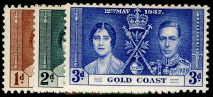 GOLD COAST SG117-119, COMPLETE SET, NH MINT. CORONATION.