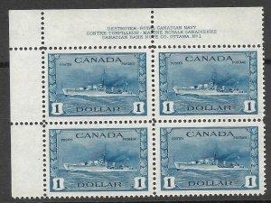 Doyle's_Stamps: XF Scott #262** Corner Canadian Banknote Company Imprint Block