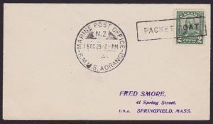 CANADA 1929 NEW ZEALAND MARINE P.O. AORANGI cover boxed Paquebot............1726