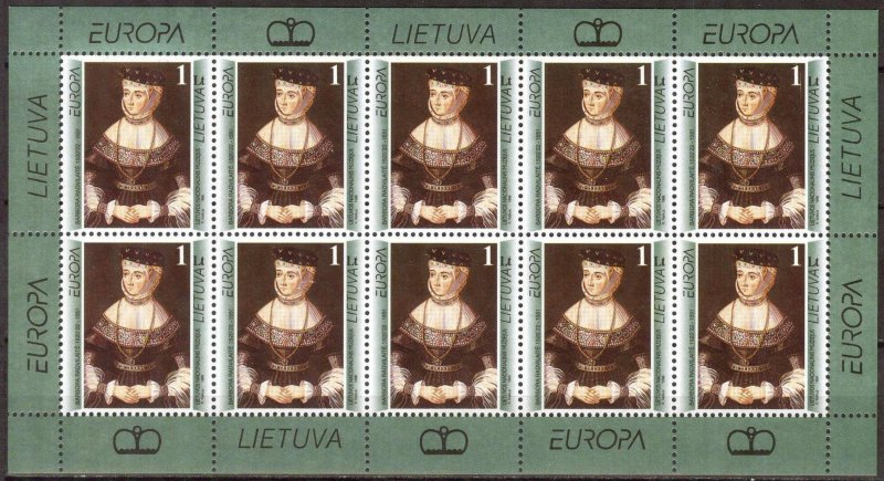 Lithuania 1996 Europa CEPT Famous Wmen's Art Paintings Sheet MNH