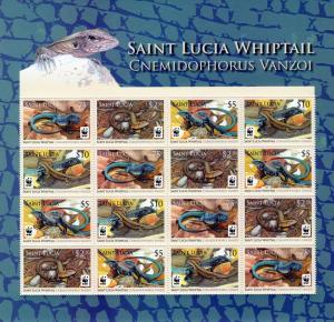 St. Lucia 2008  WWF Whiptail Sheetlet (16v) MNH Sc#1251/1254