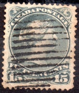 Canada Scott 30iv Used Perf 12 greenish grey (1873) VF Cat. $150.00